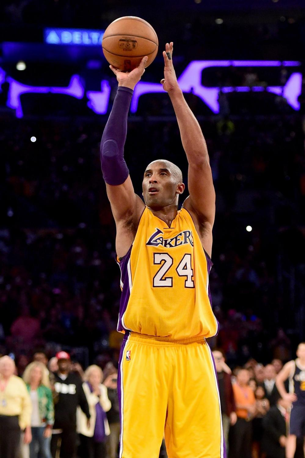 Kobe Bryant takes his shot against the Utah Jazz. On Sunday, Jan. 26, Bryant and his daughter Gianna died in a helicopter crash.