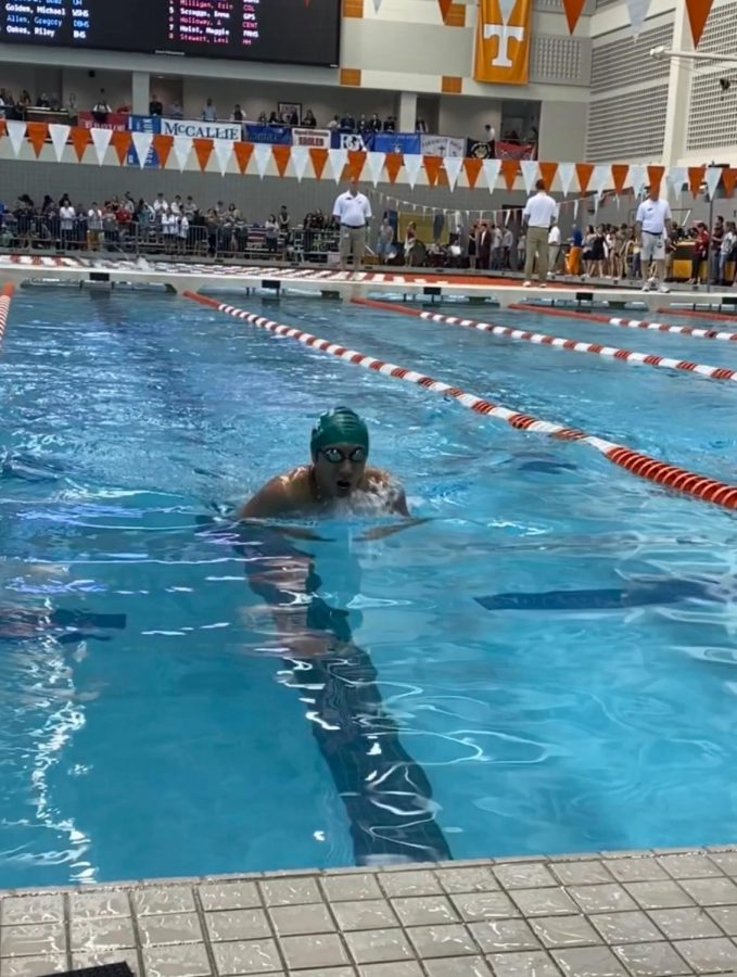 Michael+Golden+%2811%29+sprints+towards+the+wall+during+his+100+yard+breaststroke+event.+He+and+a+few+other+people%2C+including+Paxton+Smythe+%2810%29+were+some+of+the+members+of+the+team+to+swim+a+state+time+for+an+individual+event.+