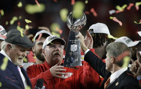 Coach Andy Reid receives the Lombardi trophy. Reid led the Chiefs to their first Super Bowl title since Super Bowl IV.