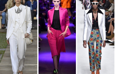 Models from the Tom Ford and Pacco Rabanne runway wear elements taken from different eras, including 80s disco collars and 70s oversized suits. While incorporating old elements, the looks evolve by making the looks gender neutral and adding neon colors.