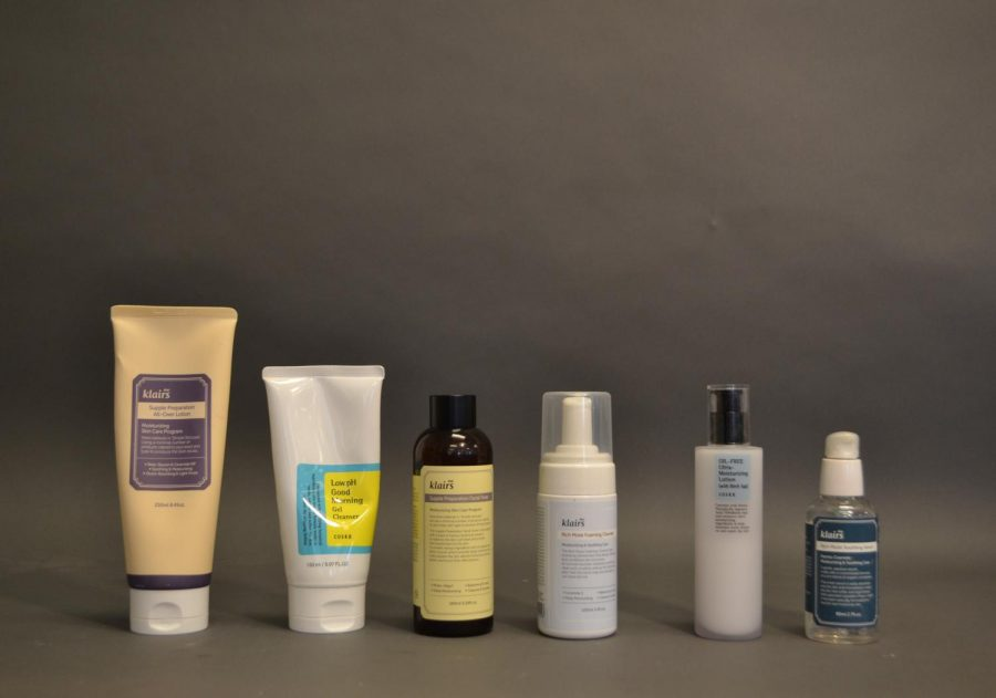 """These are many of the products I used when I tried Korean skincare. Although most of the them are from Klairs, some are from Cosrx. The products include an """"all-over"""" lotion, morning cleanser, toner, foaming cleanser, oil-free moisturizer and serum."""