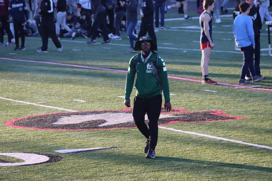 Coach KG looks toward the stands at the Shelby County Jamboree at Houston High School. KG officially coached his first track meet as head coach on Friday, March 6, 2020.