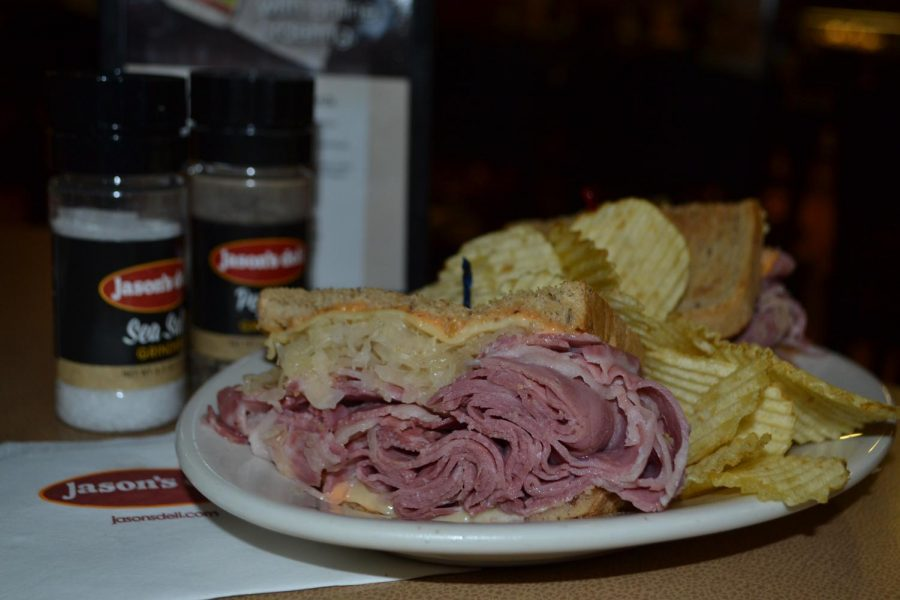 """Jason's Deli's """"Reuben THE Great"""" sandwich is a concoction of hot corned beef, Swiss, sauerkraut, and Thousand Island dressing, grilled on rye. The deli is just one of many in Memphis to boast high quality sandwiches and subs."""