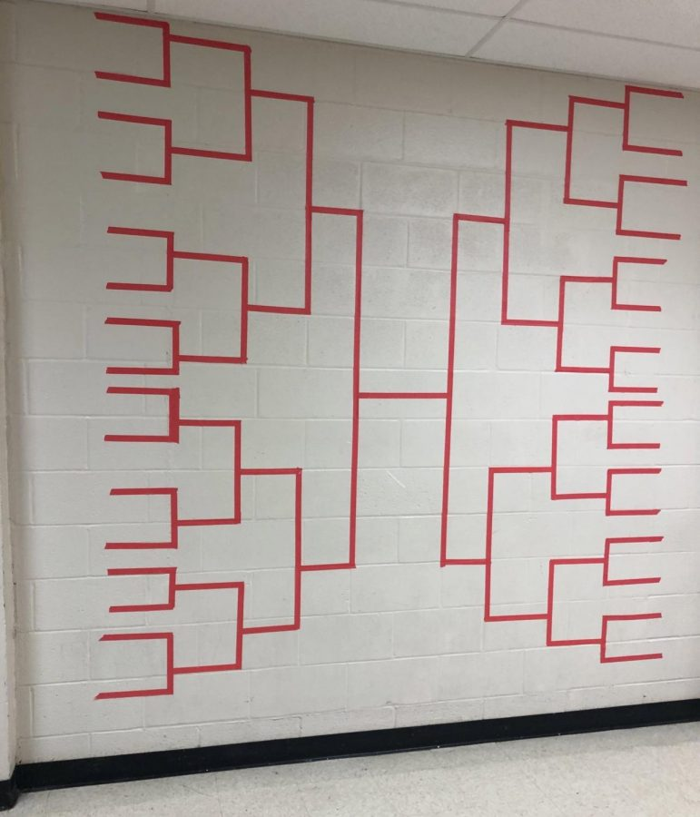 The bracket entitled Ballot Box Babes is found outside of Rakestraws classroom and is to find the hottest politician.