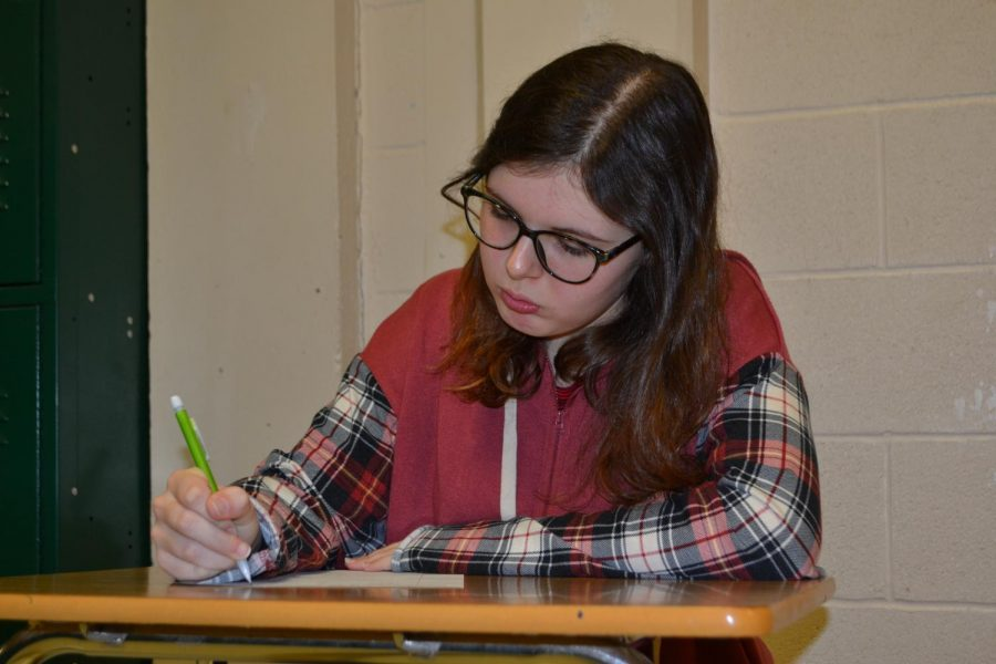 Elaina Fleming (11) is deep in thought as she scribbles down ideas for her next story. Fleming has been passionate about writing since sixth grade.