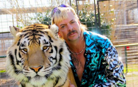 Joe Exotic sporting his signature platinum mullet while getting cozy with a tiger. Netflix's hit documentary series Tiger King brings all the excitement you could ask for—and more.
