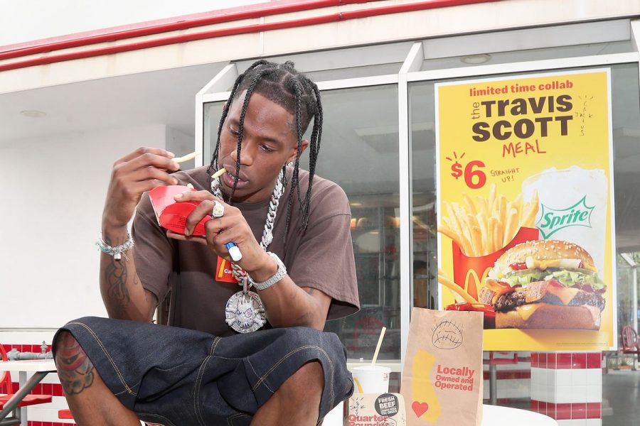 Travis Scott celebrates the launch of the meal at a McDonald's in Downey, CA on Sept. 8. McDonald's reported widespread supply shortages due to high demand within the first week of the burger's release.