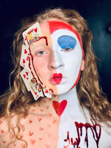 "Streaked with blood and dotted with hearts, Johnnie Walton dubs this whimsically gory look ""Queen of Hearts Mix."" Walton uses a variety of supplies like liquid latex, stage blood, cream paints and brushes to create her SFX designs."