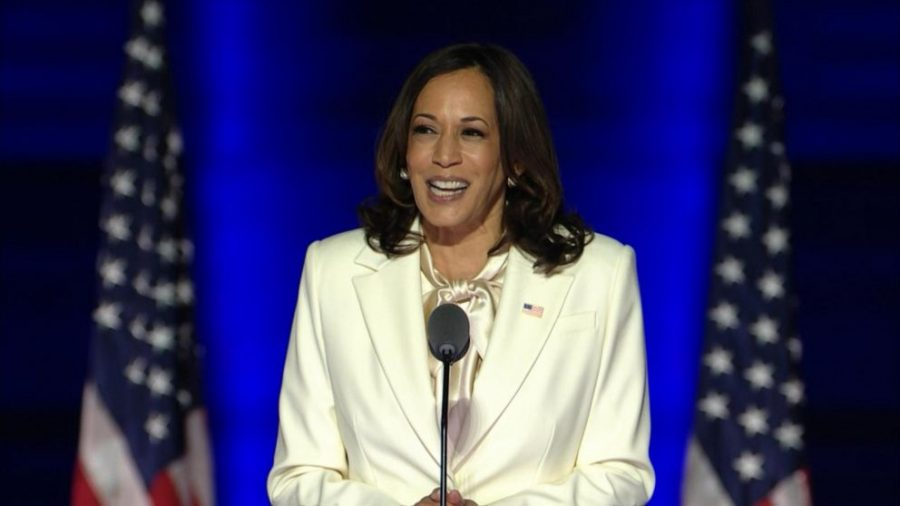 Kamala Harris delivers her victory speech on Nov. 7, 2020. Earlier, she was announced to have been elected vice president by the popular vote.