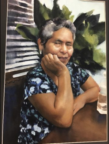 A piece of watercolor art by Anahis Luna (12) for her series showcasing the personalities of family members. It is art like this that earned her several gold keys in the Scholastic Art Competition.