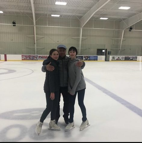 Alexandra Shirley (10) and Gabby Shirley (9) pose with the world-famous coach Alexei Mishin. During the coronavirus pandemic, most sports and group events have either been cancelled or changed drastically, and ice skating is no exception.