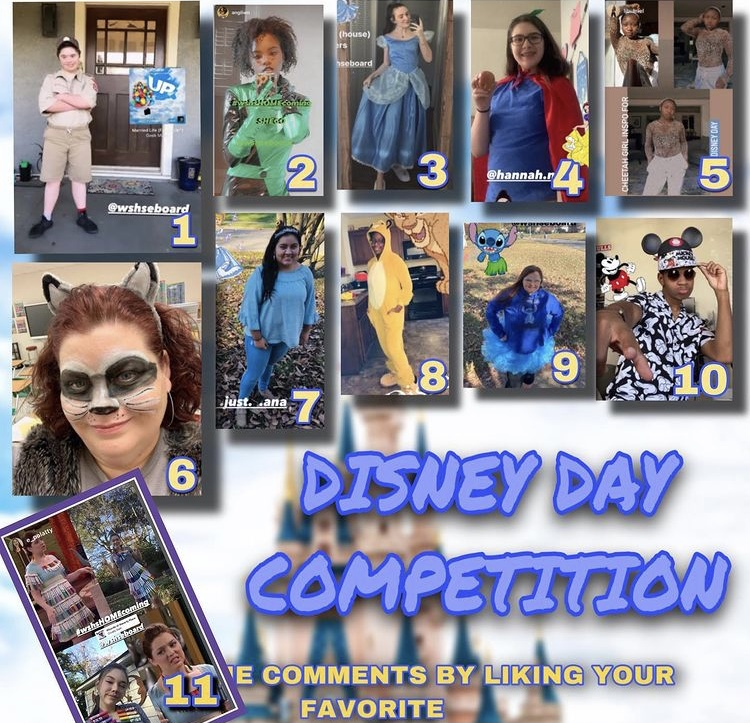 Spartans participate in the homecoming dress-up day by wearing costumes of their favorite Disney characters. Students who participated in dress-up days were featured on the E-board Instagram for the chance to win a gift card.