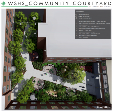 The digital rendering of phase two of courtyard renovations shows the planners' intents to make this a communal space for students. The bricks bought by donors will be placed inside the circular pods in the center of the image.