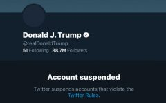 Trump's Twitter account status is displayed as suspended. After the events at Capitol Hill, Twitter decided to permanently suspend Trump's account to prevent any further incitement of violence.