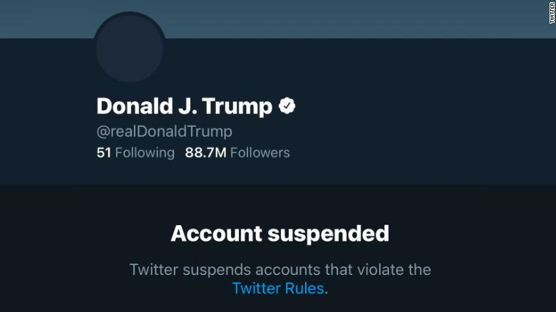Trump%E2%80%99s+Twitter+account+status+is+displayed+as+suspended.+After+the+events+at+Capitol+Hill%2C+Twitter+decided+to+permanently+suspend+Trump%E2%80%99s+account+to+prevent+any+further+incitement+of+violence.