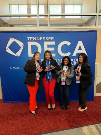 Allie Mascolo (12), Lillian Gomez (12), Gaby Brown (12) and Marleny Granados-Diaz (12) compete in the 2020 DECA competition. Because of COVID-19,  2021 participants will compete in the  competitions online.