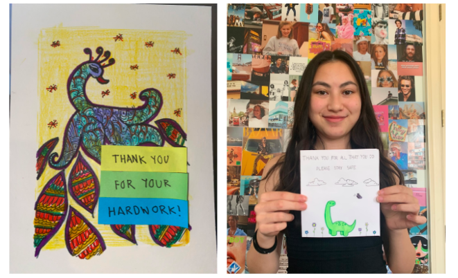 Aanya Kabra (9) (left) and Eunice Chen (9) (right) design cards to send to the Signature Healthcare of Memphis. Class projects encourage student involvement within school activities and in the community.