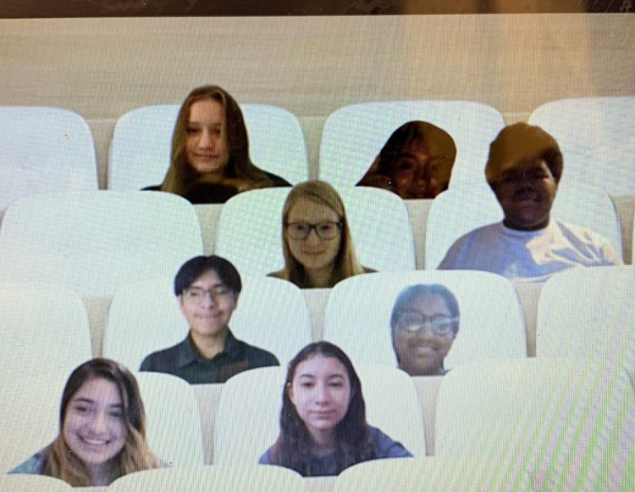 French III students pose for a photo in their virtual classroom. Since school went online, teachers like Melissa Seagraves have had to find creative ways to engage students.