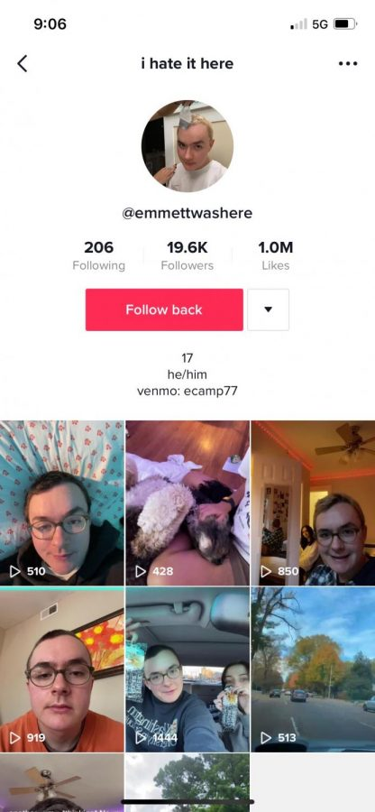Emmett Campbell's (12) TikTok page shows his many videos. He has amassed over 19,600 followers creating popular content.