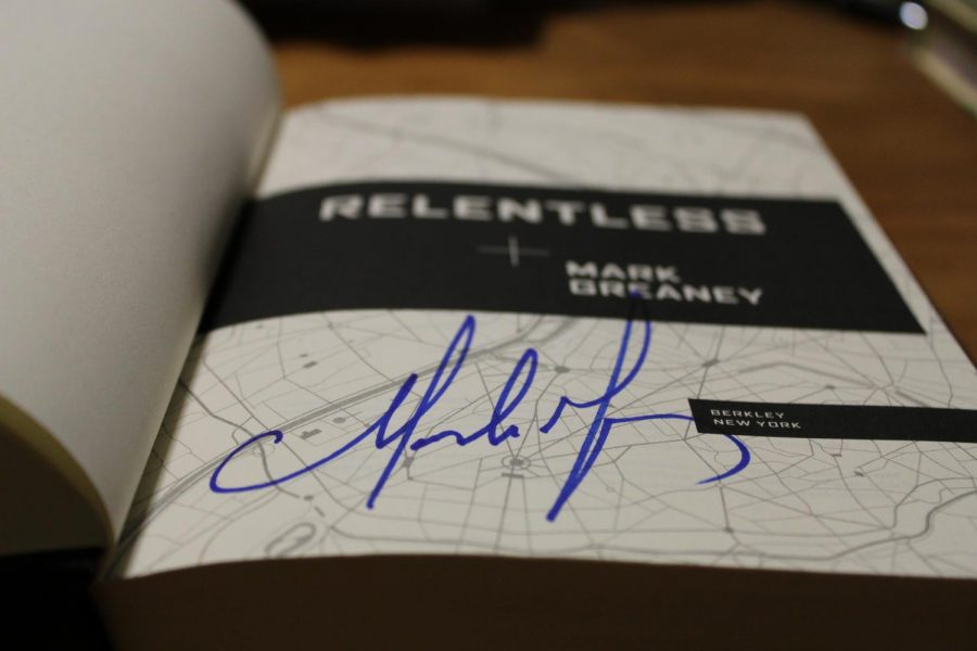Mark Greaney's signature on the front page of Relentless, his newest novel which was released on February 16. Special thanks to the staff at Novel for their assistance for this article.