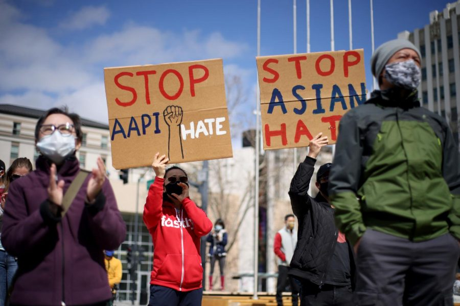 Protesters fight against attacks against Asian Americans and Pacific Islanders in the Bay Area of California, which is where many of these racist attacks have been taking place over the course of the past year.