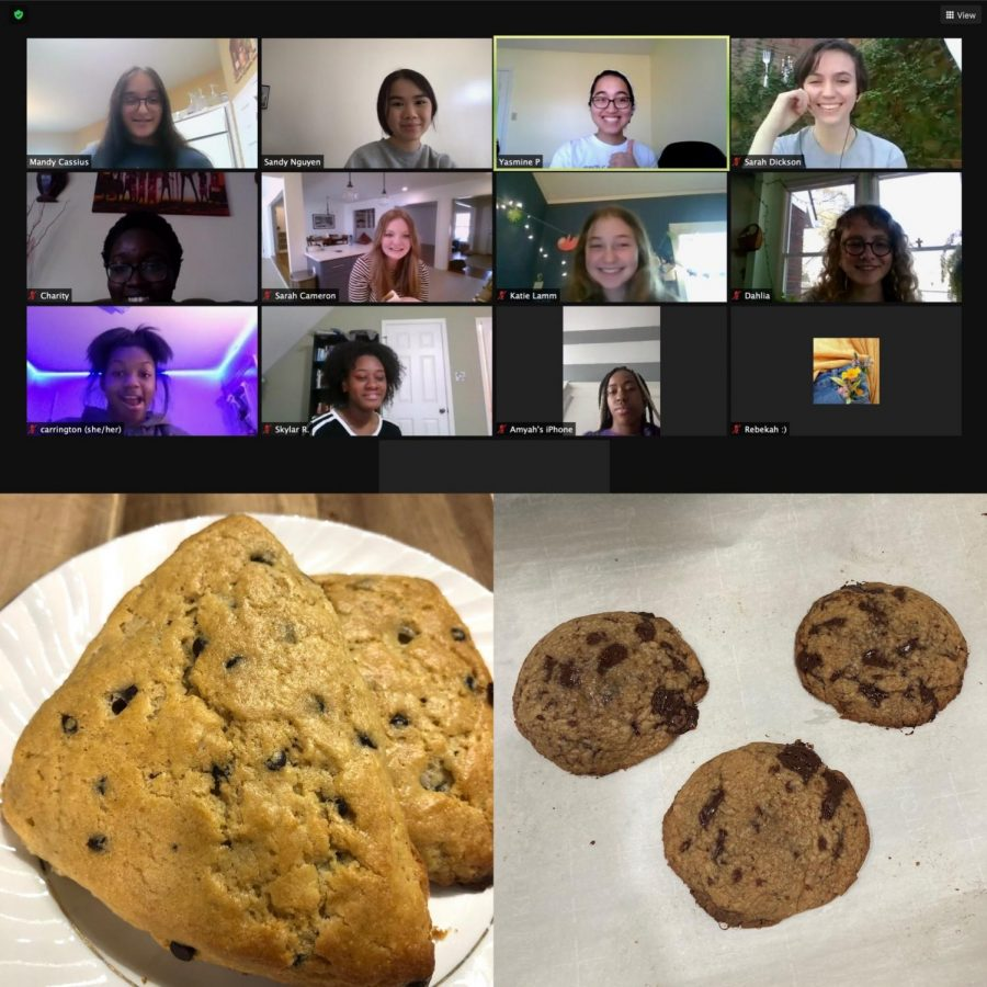 """Girl Up club members smile and eat cookies on their zoom call regarding current events. In the """"Cookies and Current Events"""" meeting club members discussed women's safety while baking cookies."""