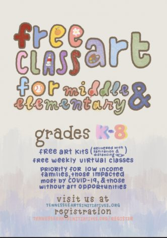 A poster advertises TAI's free art classes. Chang and Jain created this colorful flyer to help spread awareness about their non-profit organization.