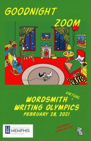 The poster announcing the continuation of Wordsmith over zoom calls. Due to COVID-19 restrictions, the 2021 Wordsmith Writing Olympics was held virtually over zoom.