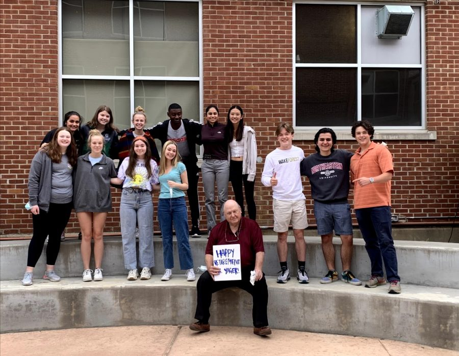 A mix of former precalculus and current AP Calculus AB students surprised Yager with a retirement party. Yager's teaching career will come to an end since he plans to retire this school year.