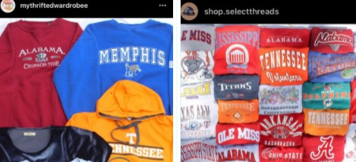 Both Instagram thrift accounts that students Kim Le (left) and Ben Nganga (right) own are focusing on selling highly demanded college apparel. They each incorporated their own unique skills into building a small thrifting business through social media.